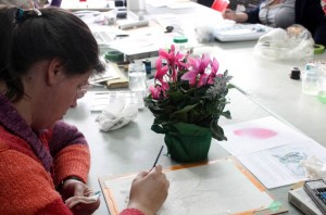 Gail working on her Cyclamen
