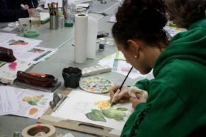 Jaquie working on her Zinnia